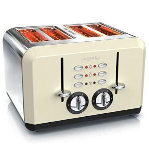 arendo  Tostapane Automatico a 4 fette  Acciaio Inox  Fino a 4 Toast farciti  6 Livelli di doratura Funzione Riscaldamento e Scongelamento  Vassoio briciole  Crema