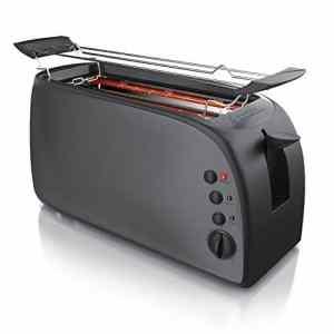 Arendo  Tostapane automatico Djeuner  Toaster a 4 fette  Attacco per panini  7 livelli di doratura  1500W  Vassoio Raccoglibriciole Smontabile  Alluminio Design Cool Grey