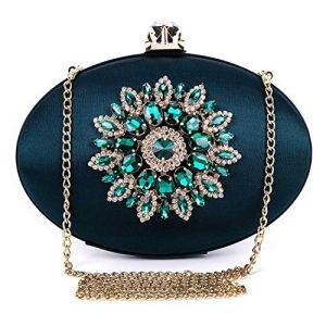 BAIGIO Pochette Donna Elegante Verde Clutch Cerimonia Vintage Borsetta da Sera Borsa per Matrimonio Sposa Party in Seta e Diamante