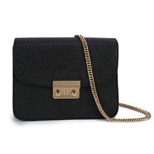 Borsa a tracolla piccola per donna Vintage in pelle PU Sacchetto di spalla Borsetta Casuale Messaggero con la Catena per Lavoro Viaggio Shopping Nero