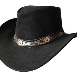 BRANDSLOCK Mens Vintage Grande Bordo del Cowboy Australiano di Stile Occidentale Bush Cappello 2XL Nero