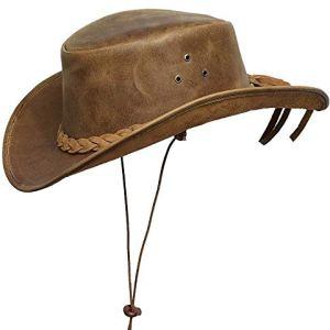 BRANDSLOCK Mens Vintage Grande Bordo del Cowboy Australiano di Stile Occidentale Bush Cappello con Chin Cord Marron 2XL