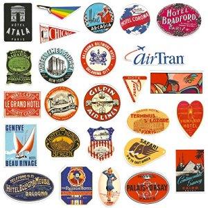 Chileeany 55 Pezzi  Adesivi Valigia Retro Vintage Stickers per Valigia Skateboard Chitarra World Tour
