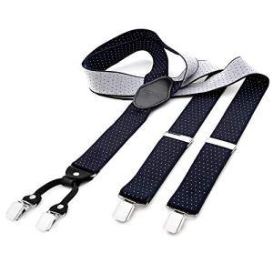 DonDon Bretelle uomo larghe 35 cm 4 clips in pelle a y  elastiche e regolabili a pois blu e neri