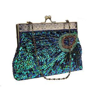EVEOUT Pochette Vintage da Donna blu Verde Pavone Antico Perline Paillettes Abito da Sera Turchese Stilista Elegante Portafoglio Signora Festa Nuziale