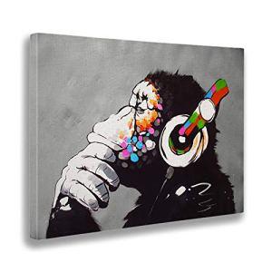 Giallobus  Quadro  Stampa su Tela Canvas  Banksy  Dj Monkey  70 X 100 Cm