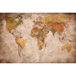 GREAT ART Carta da Parati mappamondoVintage RetroImmagine da Parete XXL del MappamondoDecorazione da Parete 210cm x 140cm