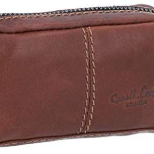 Gusti Leder studio Butler portachiavi in pelle con cerniera per valigia portamonete chiavi piccolezze cuffie in vera pelle marrone scuro 2A66226