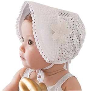 HBF Cappellino Neonata Elegante Accessori per Bambina Berretto Cotone Bianco cappello Bambina Vintage Adatto per PrimaveraEstateAutunno Taglia Unica