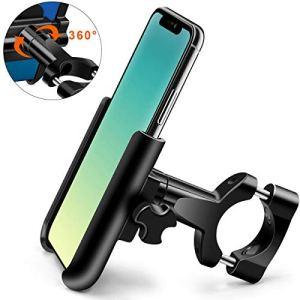 HNOOM Porta Cellulare Bici Supporto Bici Smartphone 360 Rotabile Aluminium Porta Telefono Bici Universale Supporto Telefono Bicicletta per Smartphone e Dispositivi Elettronici 4068 Nero