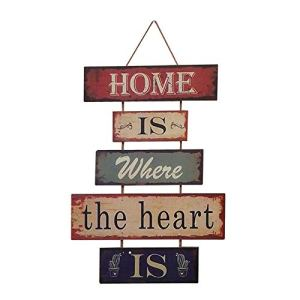 HUABEI Cartello Vintage in legno da appendere alle parete  Home is where the heart is