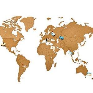 MiMi Innovations  Lussuosa Decorazione da Parete in Legno con Mappa del Mondo 130 x 78 cm  Marrone