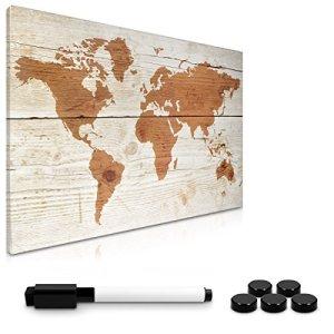 Navaris Memo Board Lavagna Magnetica 40x60cm  Lavagnetta Scrivibile Cancellabile con 1x Pennarello e 5X Calamite  Bacheca Design World Map Vintage
