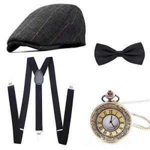 1920s Fancy Dress Set per Costume da Uomo Gatsby Costume Kit con Cappello Panama da Gangster Bretella Elastiche Regolabili Papillon e Orologio da Taschino Vintage