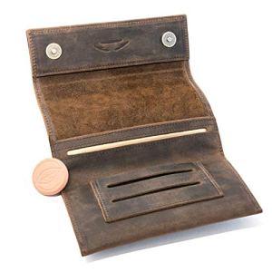 COMARI Porta tabacco in cuoio  doppio scomparto per cartine e filtri  chiusura magnetica  umidificatore per tabacco gratis marrone vintage