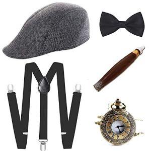 E EBETA Set di Accessori Anni 1920s per Costume da uomop Gatsby Gangster Costume Kit con Cappello Panama Elastica Bretella YBack Farfallino Sigaro Orologio da Taschino Vintage Baffi Finti A