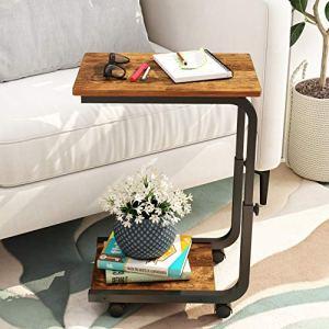 JOISCOPE Tavolino con Ruote Tavolo Mobile Industriale Adatto per Piccoli spazi Camera da Letto dormitorio Soggiorno Ufficio Finitura Rovere Vintage