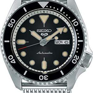 Seiko 5 Sports Suits Orologio Analogico Automatico Uomo con Cinturino in Acciaio Maglia Milanese SRPD73K1 Nero 3K1