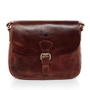 SID  VAIN borsa a spalla vera pelle vintage YALE sacchetto tracolla donna marrone