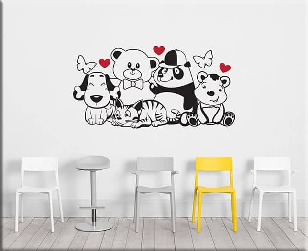 adesivi murali per la stanza dei bambini a tema dinosauri: Adesivi Murali Orsetti Cameretta Bimbi Arredo