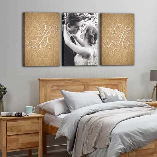 Poiché lo spazio letto della camera da letto è uno spazio geometrico, la simmetria. Quadri Moderni Stampe Personalizzate Con Foto E Nomi 3 Tele