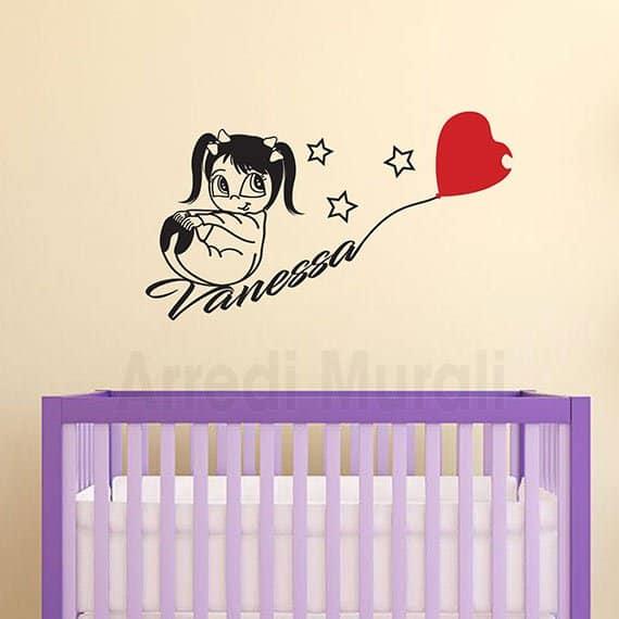 Ogni adesivo è singolo in modo da decidere la posizione e copre una superficie di almeno 90 x 60 cm. Adesivi Murali Bambina Nome Personalizzato Per Camerette Arredimurali