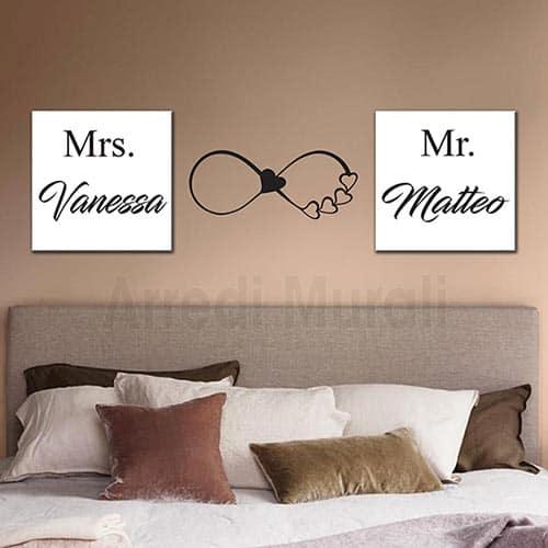 Per adesivi murali camera da letto. Decorazioni Testata Letto Personalizzati Con 2 Quadri E 1 Sticker Murale