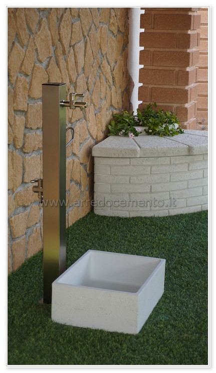 600 colore grigio ghisa per casa e giardino con rubinetto cod. Fontane Moderne Punto Acqua Cm48x52x100h Inox Valvola E Vasca Arredo Da Esterno