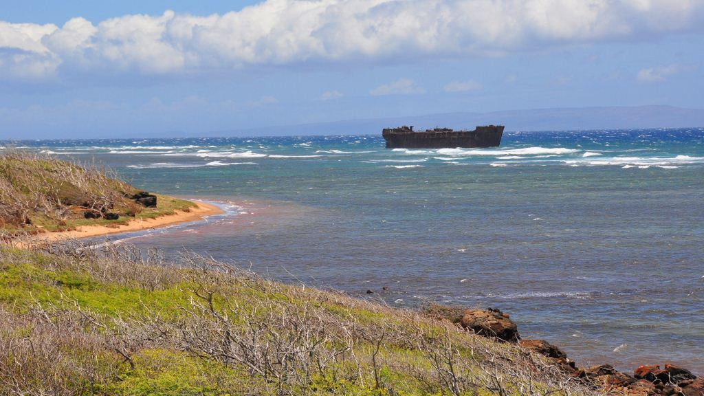 The magnificent windswept Shipwreck Beach in Lanai, Hawaii. Credit: Curt Woodhall, ArrivalsTravel.com