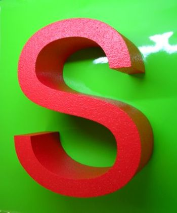 red polystyrene letters