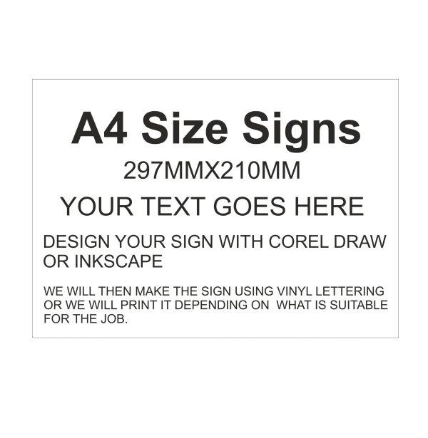 A4 plastic signs