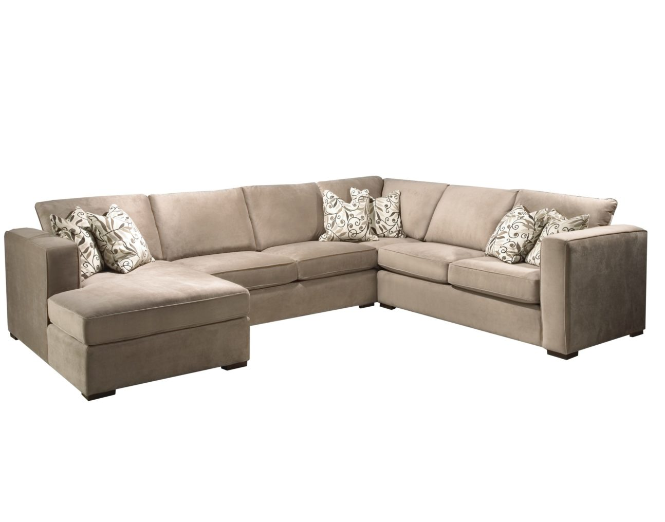 modern light brown microfiber sectional with chaise