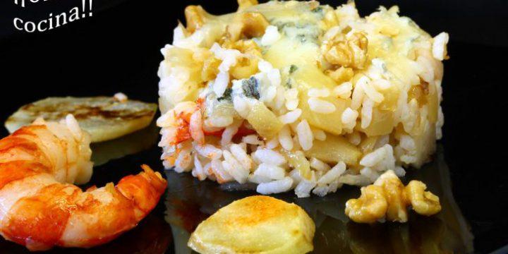 Arroz con pera, queso gorgonzola, gambas y nueces