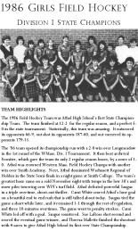 1986 Girls Field Hockey