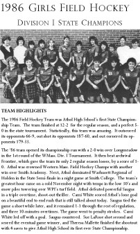 1986 Girls Field Hockey