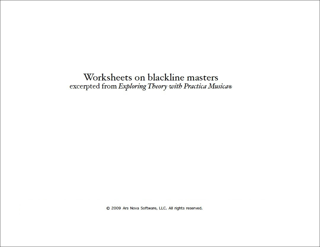Worksheets Cover Page