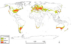 World map of spotted lanternfly