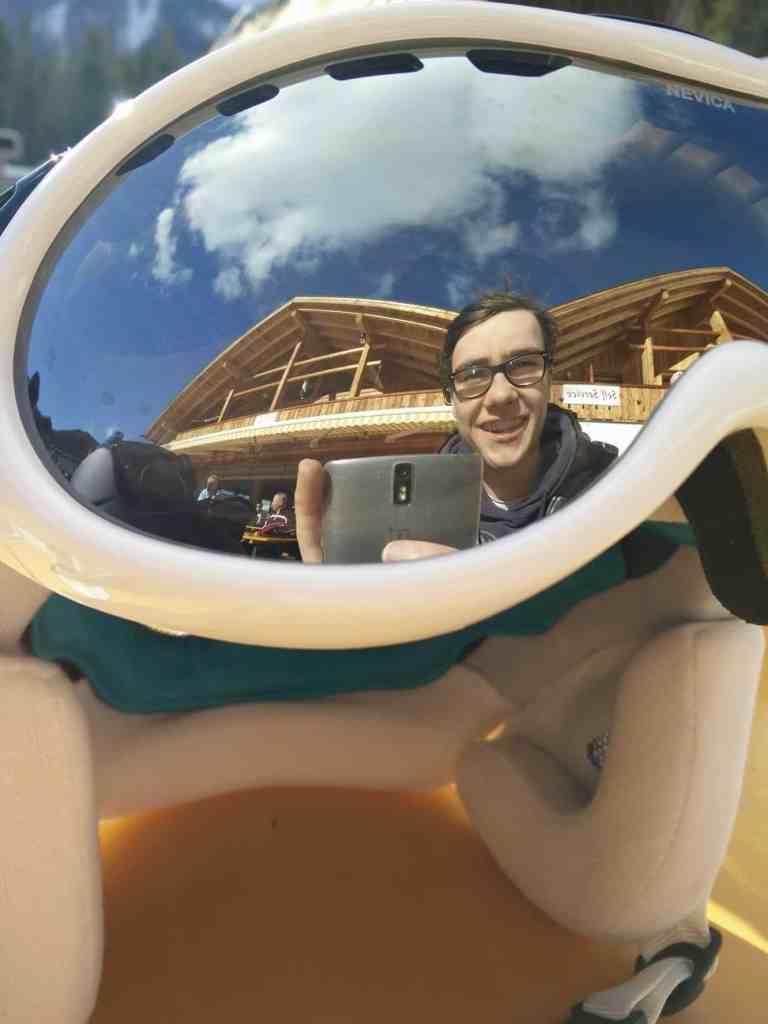 Ski goggle selfie