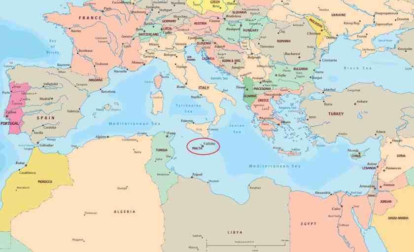 Location of Malta within the Mediterranean Ocean