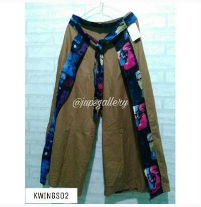 Jual celana kulot bahan katun linen polos dan motif 08979012689