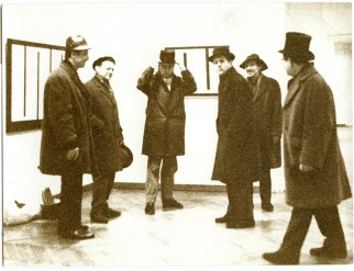 Gorgona members at Julije Knifer's exhibition at the Gallery of Contemporary Art, Zagreb, 1966.