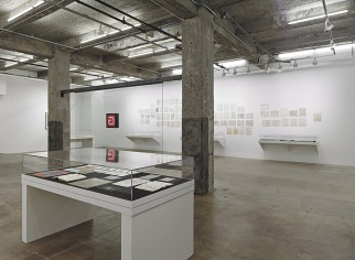 "View of ""Qor Corporation: Lionel Ziprin, Harry Smith and the Inner Language of Laminates,"" Maccarone, New York, 2013."