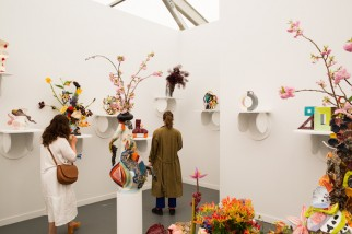 View of Travesía Cuatro at Frieze New York, 2015 with Milena Muzquiz's, Untitled, 2015.