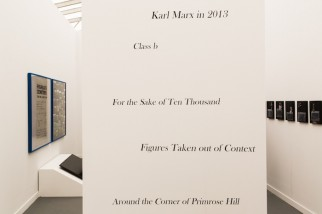 "View of Antenna, Shanghai, at Frieze New York, 2015, with Liu Ding's ""Karl Marx in 2013,"" 2014."