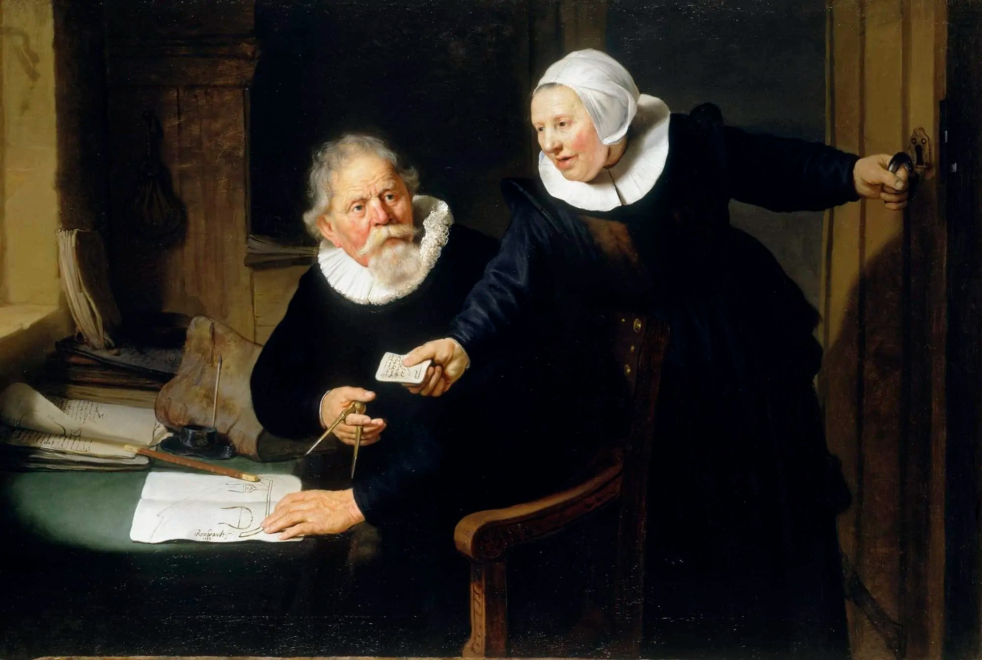 painting of man and woman dressing in black