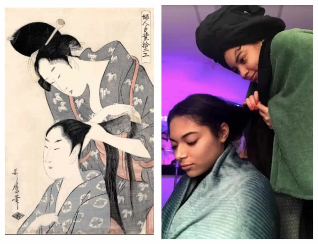 two women recreate a print by Kamiyuo