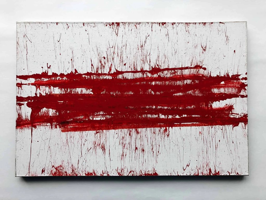 White canvas with bold red stripe