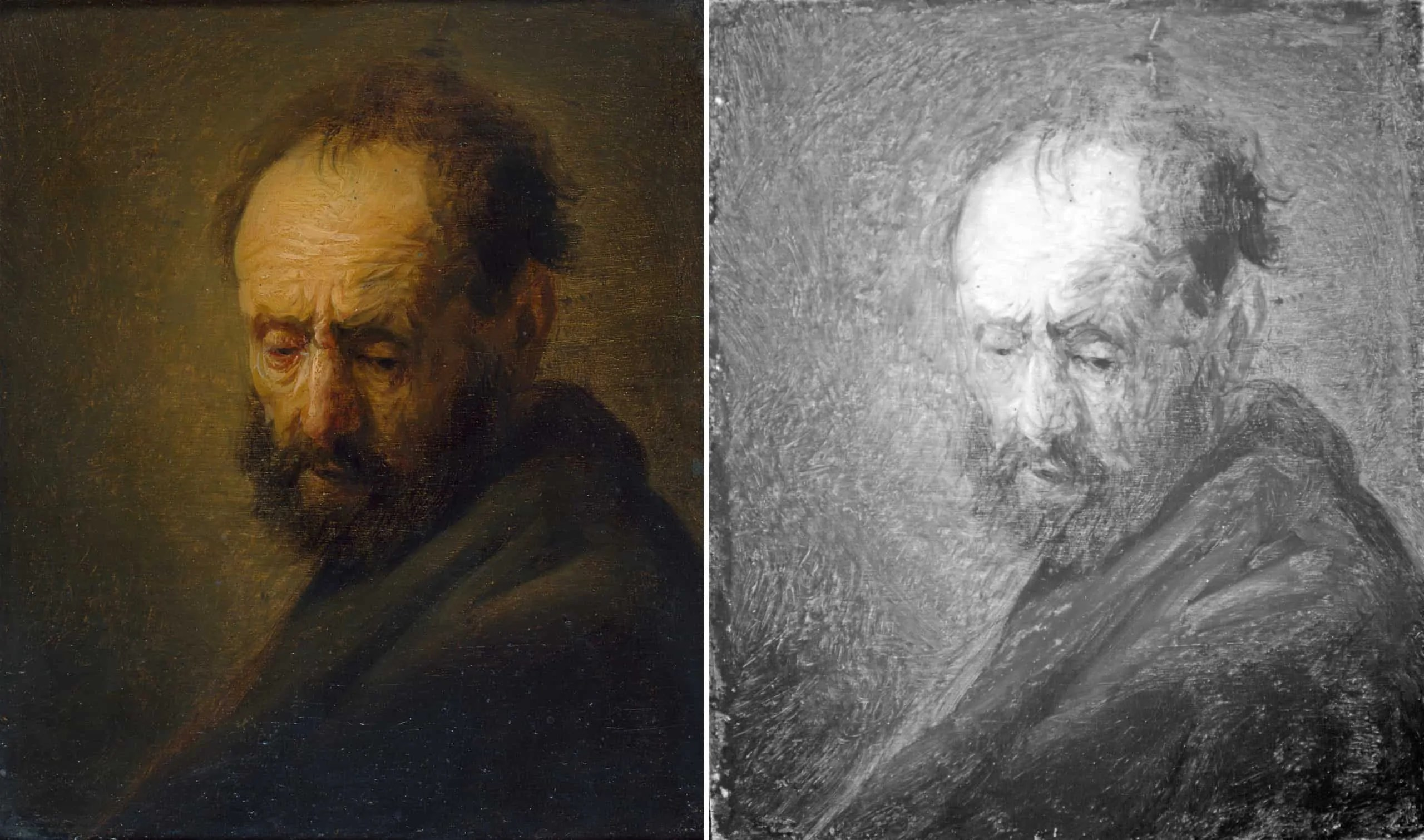 A painting of a man with a beard compared to a black and white infrared photo of it