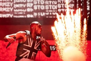Stormzy wears the Banksy stab proof vest which is nominated for the Beazley Designs of the Year 2020