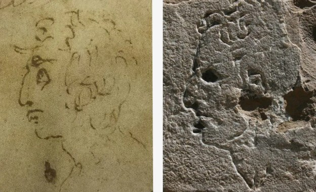 Photo of drawing by Michelangelo and carving on the Palazzo Vecchio that might be by the Old Master